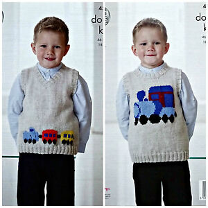 3635c8daa837 KNITTING PATTERN Boys Sleeveless V-Neck   Round Neck Train Jumpers ...