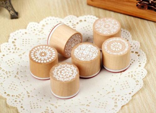 Set of 6 NWOT Round Wooden DIY Rubber Stamp Craft Scrapbook Decorative Designs