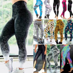Damen Stretch Skinny Leggings Leggins Sporthose Yoga Gym Fitnesshose Jogginghose
