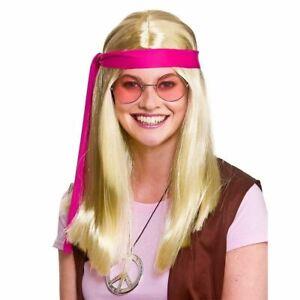 60 S 70 S Blonde Woodstock Hippie Hippy Perruque Kit Lunettes Médaillon Robe Fantaisie-afficher Le Titre D'origine