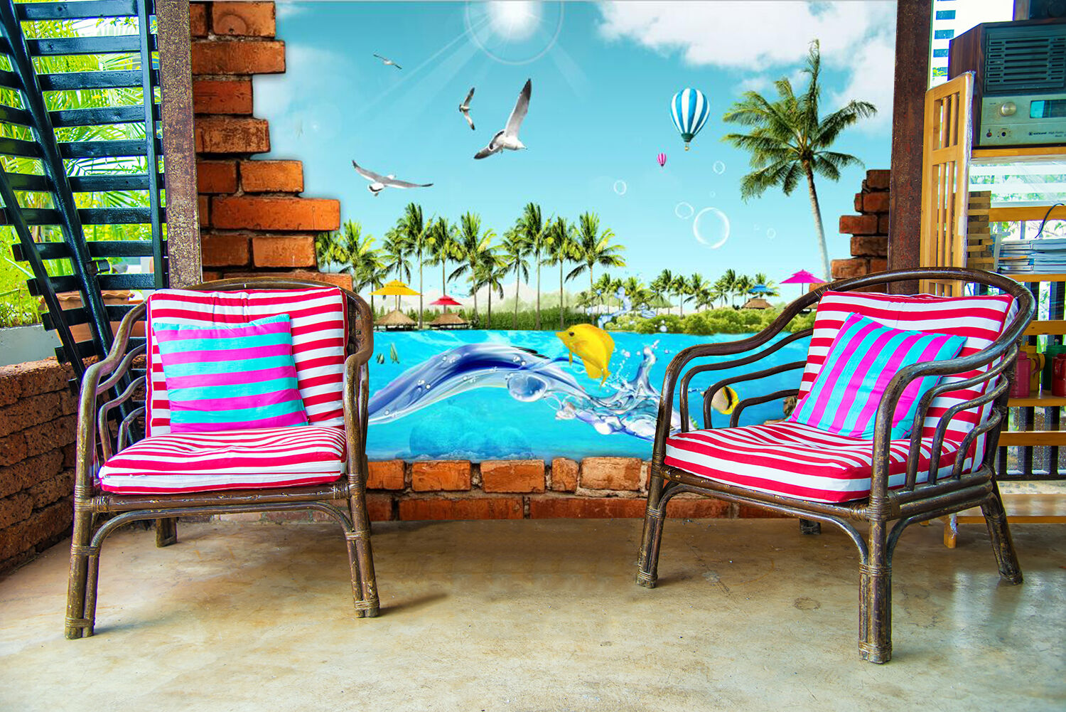 3D Summer waves beach tree Wall Paper Print Decal Wall Deco Indoor wall Mural