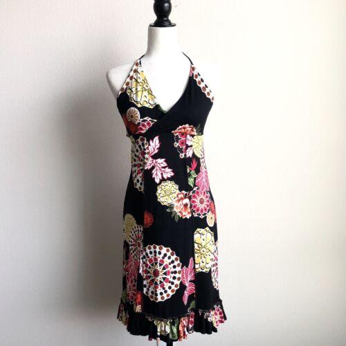 Naf Naf Women's Size L Floral Halter Dress Ruffle