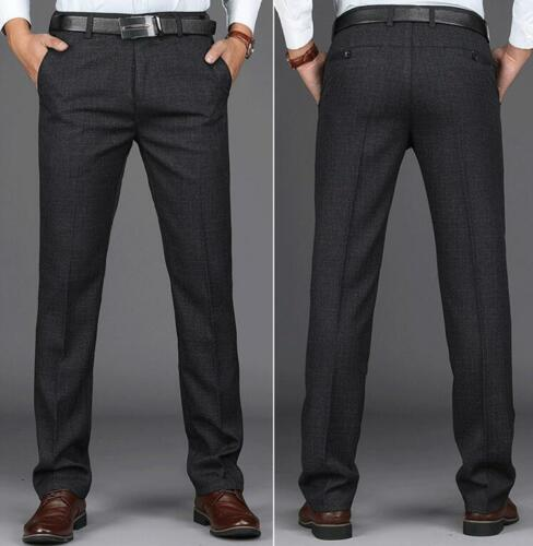 Mens Loose Straight Formal Suit Pants Business Casual Long Trousers Slim Cotton