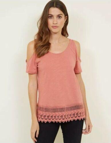 Dark Pink Crochet Hem Cold Shoulder Top Size 12 BNWT New Look