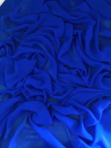 "114cm 1 mtr royal blue chiffon dress fabric..45"" wide"