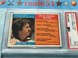 1982-O-Pee-Chee-134-STEVE-TAMBELLINI-Near-Perfect-PSA-9-Mint-New-Jersey-Devils