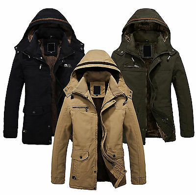 Mens Winter Jackets Military Parka Outerwears Warm Fur lined Long Coats Hooded