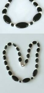 Trendy-Schwarz-Weiss-Onyxkette-mit-Perlmutt-Collier-Onyx-Halskette-Steine