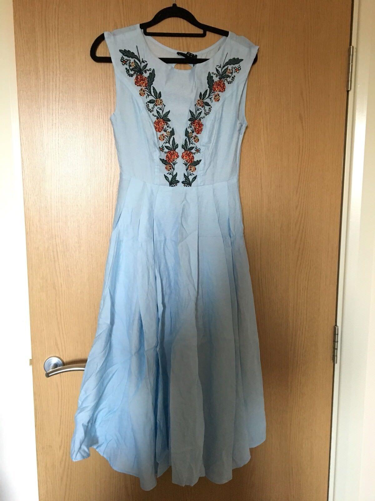 Collectif Women's Bright And Beautiful Astrid Folk Dress bluee Size 8 XS Retro
