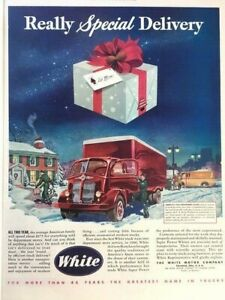 1947 White Christmas Delivery Truck Vintage Advertisement Print Art Car Ad LG67