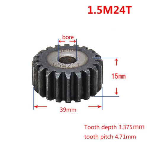 1.5Mod 24 T Motor espolón piñón 45# Acero Exterior Diámetro 39 mm Espesor 15 Mm x 1Pcs