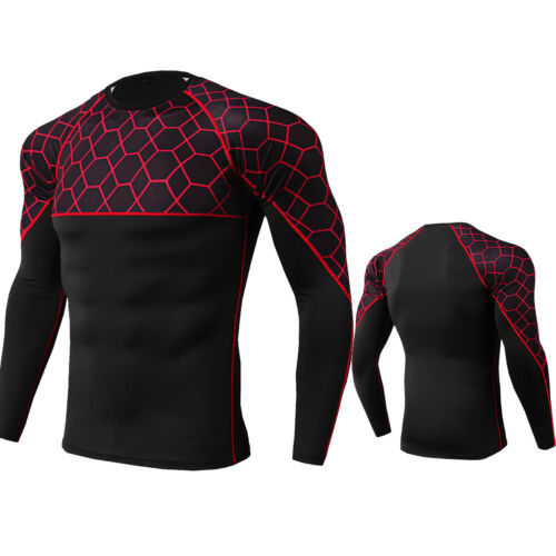Mens Compression Shirt Activewear Gym Running Basketball Tops Tight fit Cool Dry