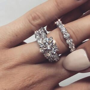 Details About Women S 10k White Gold Plated 3 Piece Engagement Ring Set Wedding Bridal Diamond