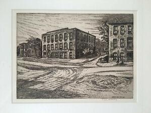 Troy-NY-1975-Edgar-Holloway-Framed-Etching-GARDEN-WAY-ROTOTILLER-INC-Building