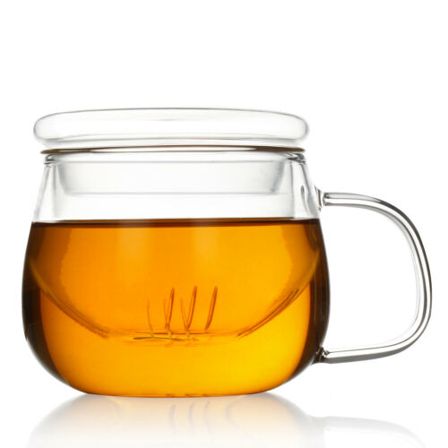 Glass Infuser Cup High Borosilicate Glass Tea Mug with Strainer and Lid