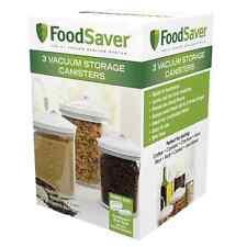 FoodSaver 3 Piece Canister Round Set Vacuum Lid Sealer Storage Container Jar New