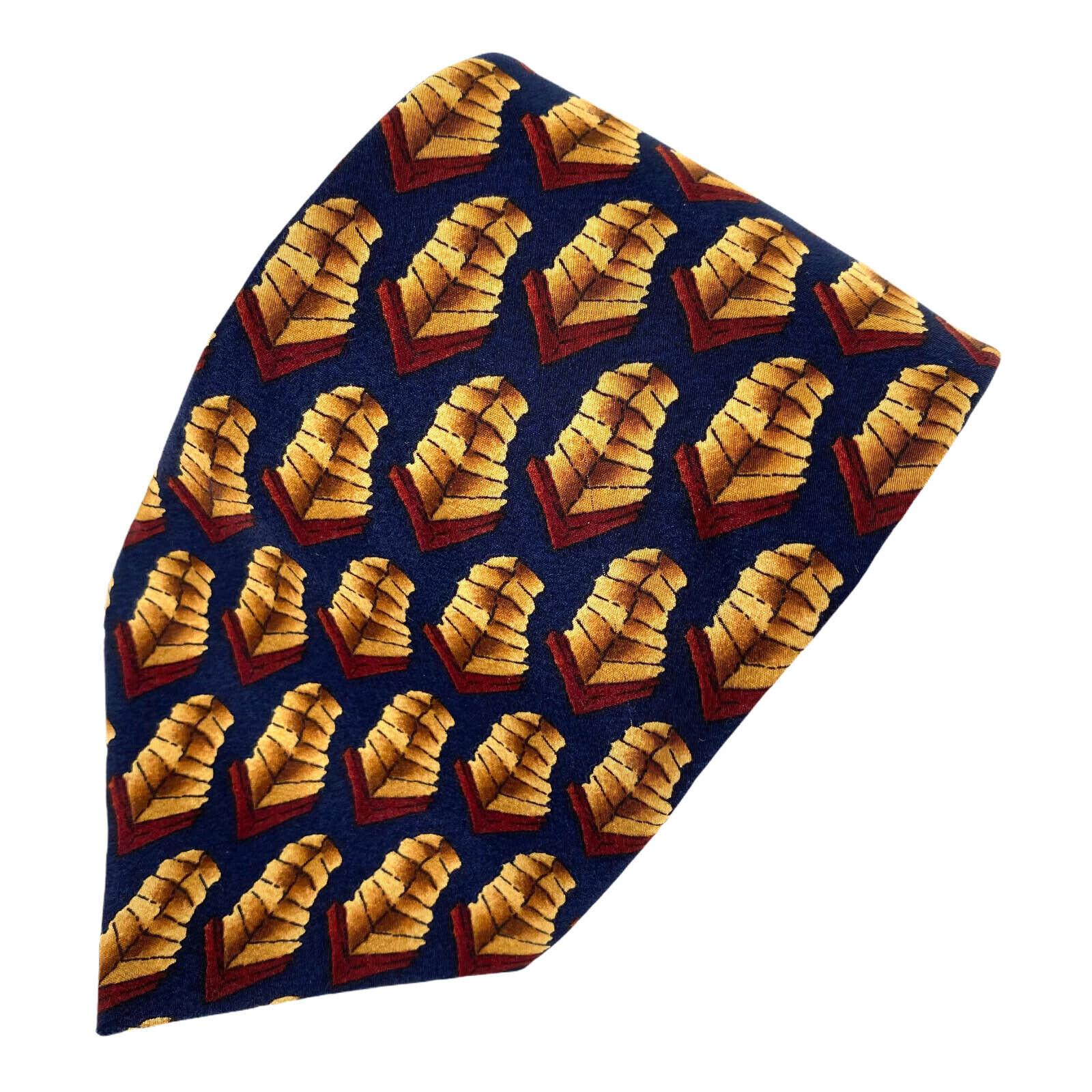 J.Garcia Pfeile Schutzschild Stacks Schwarz Gold Rot-Braun Seide Krawatte