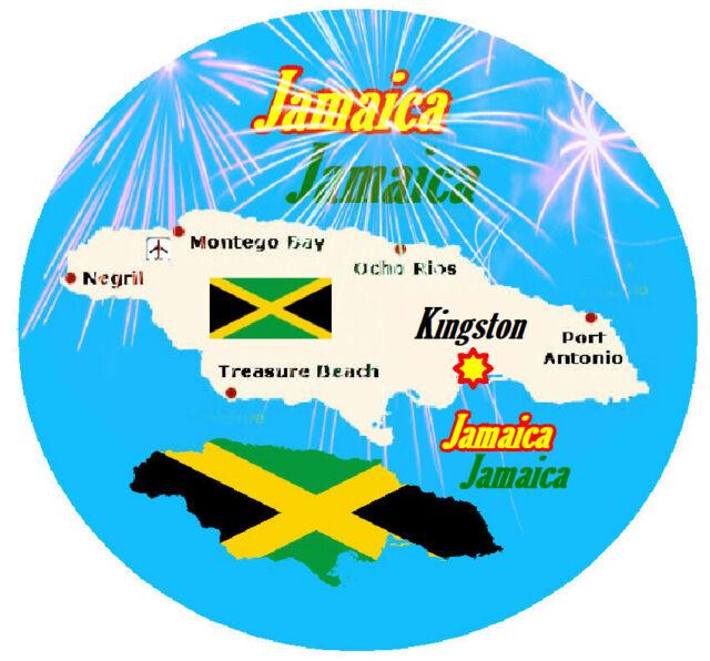 JAMAICA - ROUND SOUVENIR NOVELTY FUN FRIDGE MAGNET - SIGHTS / NEW / FLAG / GIFTS