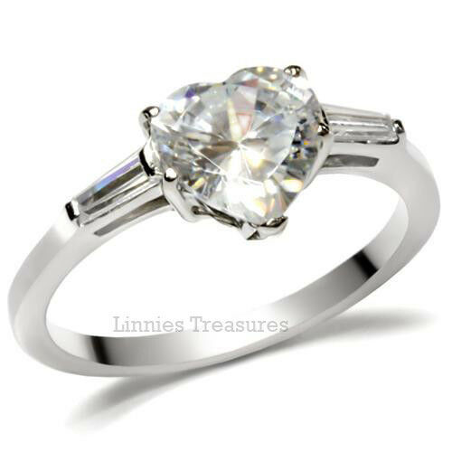 Heart CZ Ring with Accents Stainless Steel Engagement Ring & Gift box 1.71 CTW