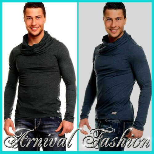 MENS LONG SLEEVE TOP MEN SWEATER JUMPER NECK PULLOVER PLAIN CASUAL NEW SHIRT XL
