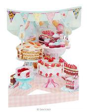 Deluxe HOME horneado pasteles Tarjeta Cumpleaños Boda Día de las madres 3D Tarjeta de oscilación Pop Up