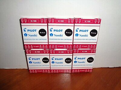 pack of 12 Black Pilot Namiki Fountain Pen Ink Cartridges IC-100