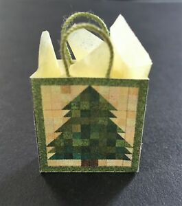 Miniature Gift Bag Green Quilt Tree with Tissue