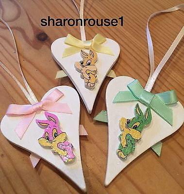 3 X Easter Bunnies Spring Hanging Decorations Handmade Real Wood Pastel