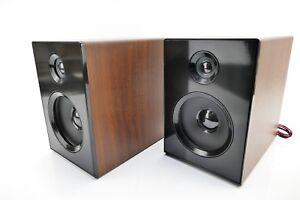 1-Paar-Lautsprecher-Boxen-Braun-Holzgehaeuse-Dual-NR-100-x