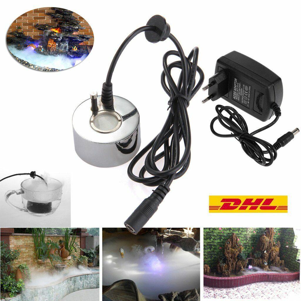 LED Ultraschall Nebel Hersteller Fogger Wasser Brunnen Teich Mit Netzteil DE DHL