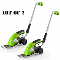 Lot Of 2 Serenelife Cordless Handheld Grass Cutter Shears Electric Hedge Trimmer on Sale
