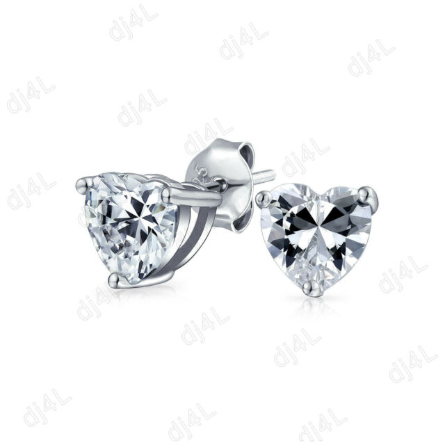 0 50 Ct Diamond Clic Heart Stud Earrings 14k White Gold Over For Women S
