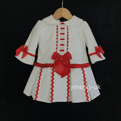 Belle Wee me baby girl rouge espagnol à manches longues Puff balle robe front bow
