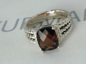 Practical David Yurman Petite Wheaton Garnet Ring With Diamonds Gemstone Ring Size 7.25 Nourishing The Kidneys Relieving Rheumatism