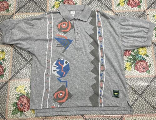 Vintage 80s Ocean Pacific Gray Polo Tribal Design… - image 1