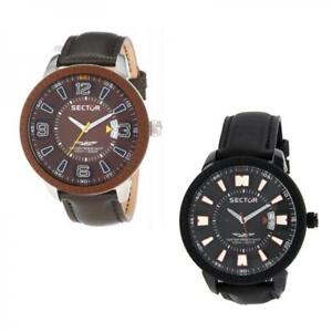 dd77439d2dcf SECTOR 400 Mens watch Leather Oversize case XL Black White Brown New ...
