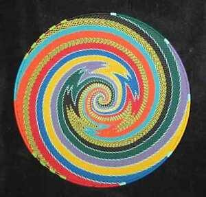 Bright Colors Swirl African Zulu Telephone Wire Basket/Platter LARGE - Kwanzaa