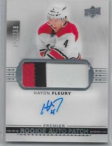 2017-18-UD-Premier-hockey-Haydn-Fleury-Rookie-patch-auto-299-card-HURRICANES