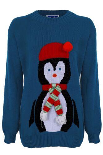 Women/'s XMAS Christmas 3D Hat Scarf Ladies Festive Penguin Knitted Jumper
