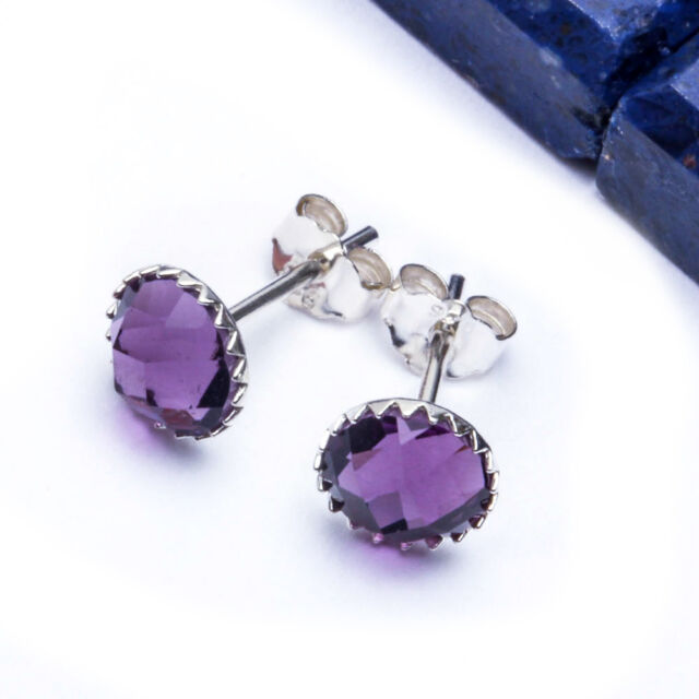 BEAUTIFUL Amethyst Round Studs .925 Sterling Silver Earring