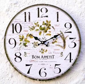 Wanduhr Küchenuhr grün weiß Kräuter Wand Uhr Küche Italien antik ...