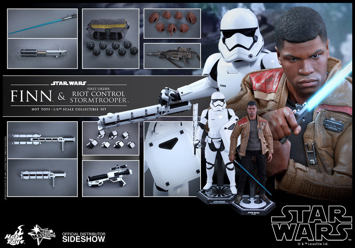 HOT TOYS STAR WARS FINN & RIOT CONTROL STORMTROOPER 1:6 FIGURE SET SEALED