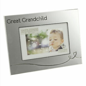 Silver-Plated-photo-Frame-with-Heart-034-Great-Grandchild-034-Holds-6-034-x-4-034-photo