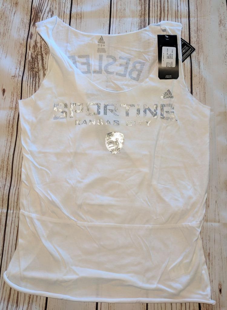LZ ADIDAS Camiseta sin mangas deportiva sin mangas pequeña Kansas City Sporting para mujer NUEVO S43