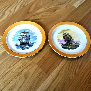 Barratts-of-Staffordshire-Side-Plates-1970s-Vintage-Navy-Ship-Decorated