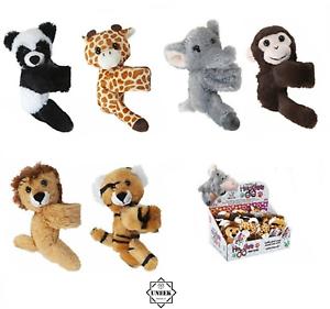 Kids PLUSH SLAP WRIST BANDS Animal Hugger Bracelets Hugglers Snap Band Soft Toy