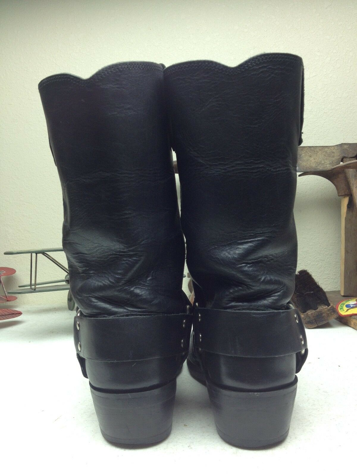 VINTAGE STYLE STYLE STYLE schwarz SQUARE TOE HARNESS DISTRESSED ENGINEER BIKER BOSS Stiefel  8 M ca1342