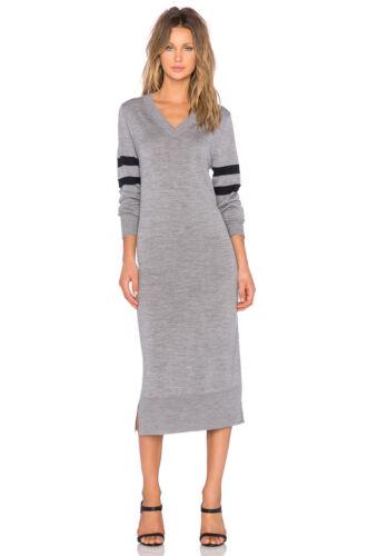 trui grijze door S Wang Stripe T gebreide jurk Merino Varsity Alexander v hals fb67gyY