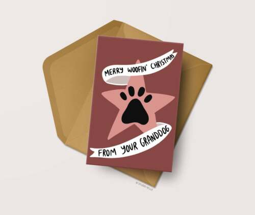 Funny Dog Card GrandDog Christmas Card Xmas Card for Dog Grandpawrents