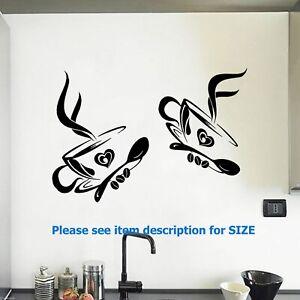 2 Coffee Cup Wall Sticker Kitchen Wall Stickers Restaurant Wall Decor Decals Ebay